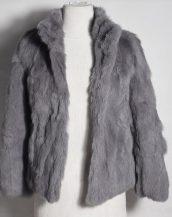gri tavşan kürkü kısa ceket sk28345