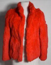 kırmızı tavşan kürkü kısa ceket sk28345
