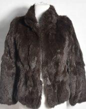 kahverengi tavşan kürkü kısa ceket sk28345