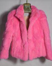 pembe tavşan kürkü kısa ceket sk28345