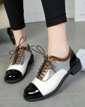 gümüş metalik bağcıklı oxford ayakkabı sk29655