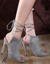 gri topuklu süet sandalet sk30141