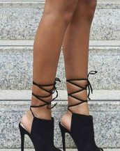 siyah topuklu süet sandalet sk30141