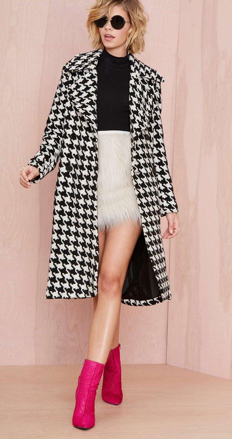 siyah beyaz kruvaze yün palto sk-623
