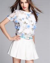 çiçekli gömlek ve pileli etekli mini elbise sk-2240