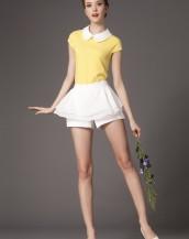 beyaz yakalı şort etekli sarı elbise sk-2254