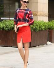 ekose bluz yırtmaçlı kalem etekli elbise sk-2299