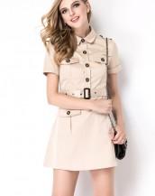 kısa kollu düğmeli kuşaklı elbise sk-2025