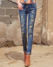 kuru kafa detaylı eskitilmiş jean pantolon sk-2012