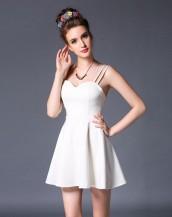sırt göğüs dekolteli pileli mini elbise sk2377