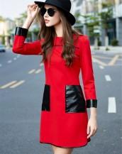 siyah kırmızı deri detaylı mini elbise sk2490