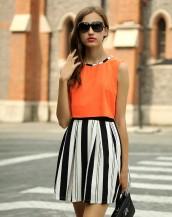 turuncu üstlü siyah beyaz etekli yazlık elbise sk-2138