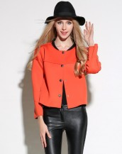 uzun kollu yakasız turuncu ceket sk2537