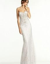 beyaz renk straplez dantel abiye gece elbisesi sk5343