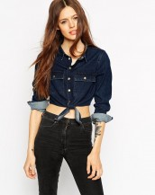 crop top denim gömlek sk3675