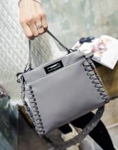 gri deri örgülü kol çantası sk5608