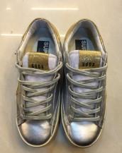 hakiki parlak deri altın simli gümüş rengi sneaker sk5209