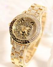 leopar swarovski taşlı altın rengi kol saati sk5149