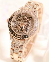 leopar swarovski taşlı bej renk kol saati sk5149