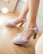 lila rengi yazlık topuklu ayakkabı sk4779