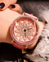pembe renk deri kordonlu swarovski taşlı kol saati sk5296