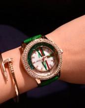 renkli swarovski taşlı deri kordonlu yeşil kol saati sk5314