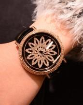 siyah renk deri kordonlu swarovski taşlı kol saati sk5296