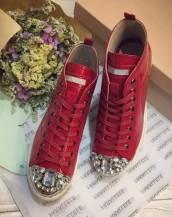 taşlı deri kırmızı sneaker sk4680