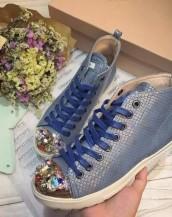 taşlı deri mavi sneaker sk4680