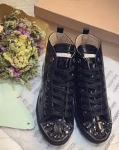 taşlı deri siyah sneaker sk4680