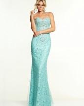turkuaz renk straplez dantel abiye gece elbisesi sk5343