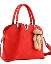 v deri kırmızı omuz çantası sk4408