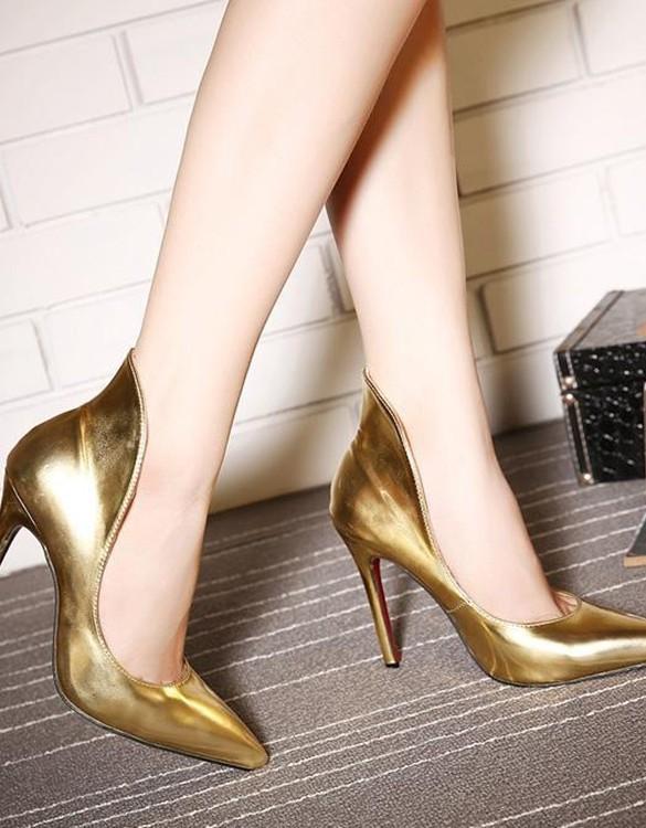 yüksek bilekli stiletto altın sk3298