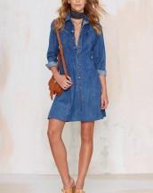 yazlık baharlık mini denim kot elbise sk4885