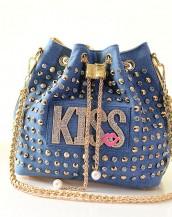 zımbalı denim kot altın kol çantası sk4934