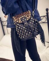 zımbalı püsküllü mini kahverengi sırt çantası sk5060