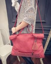 zımbalı süet kırmızı kol çantası sk4601