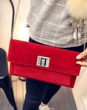 zincirli kadife kırmızı el kol çantası sk5041
