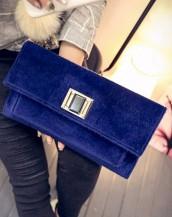 zincirli kadife mavi el kol çantası sk5041