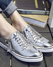 çift fermuarlı gümüş rugan sneaker sk6480