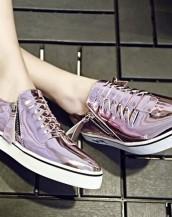 çift fermuarlı pembe rugan sneaker sk6480