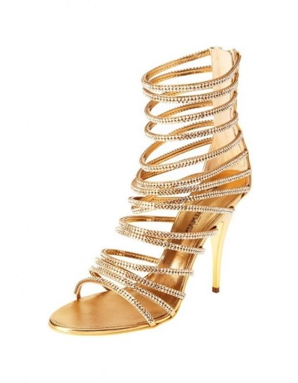 altın rengi kristal taşlı topuklu sandalet sk6516