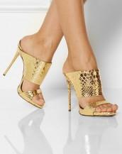 altın yılan derisi kalın bantlı rugan sandalet sk6588