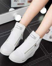beyaz gizli topuk çift fermuarlı sneaker sk5708