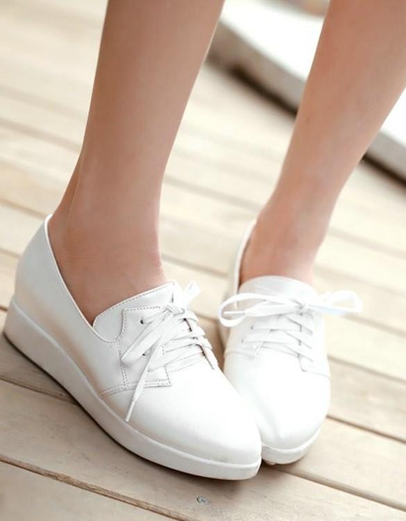 beyaz gizli topuklu bağcıklı deri ayakkabı sk5661