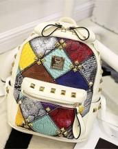 beyaz renkli zımbalı deri sırt çantası sk7217