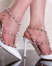 beyaz zımba bantlı topuklu sandalet sk6269