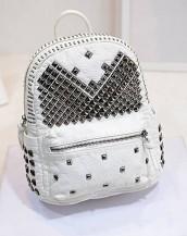 beyaz zımbalı deri sırt çantası sk7050