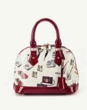 bordo karikatür baskılı rugan çanta sk6858