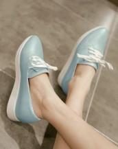 buz mavisi gizli topuklu bağcıklı deri ayakkabı sk5661